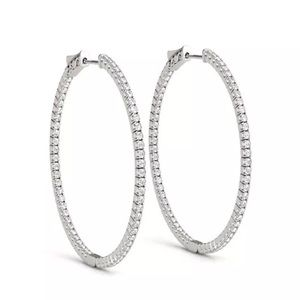 1.50 tcw diamond hoop earrings 14k white gold 💎♥️